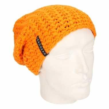 Basis wintermuts beanie oranje kopen