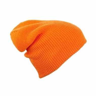 Basis wintermuts lange beanie oranje dames kopen