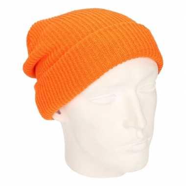 Basis wintermuts lange beanie oranje heren kopen