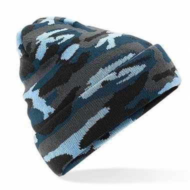 Blauw arctic camouflage gebreide skimuts volwassenen kopen