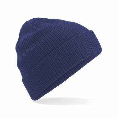 Commando beanie organic wintermuts donkerblauw kopen