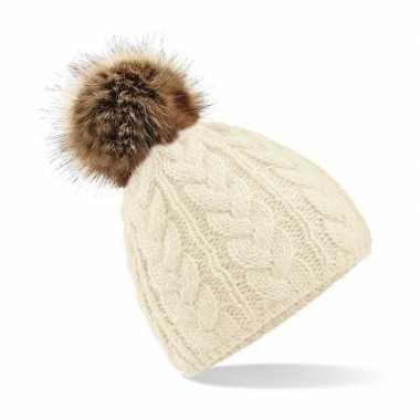 Creme witte warme gebreide skimuts pompon dames kopen