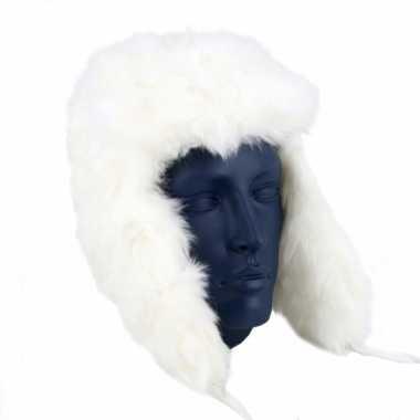 Echte Russische bontmuts wit kopen