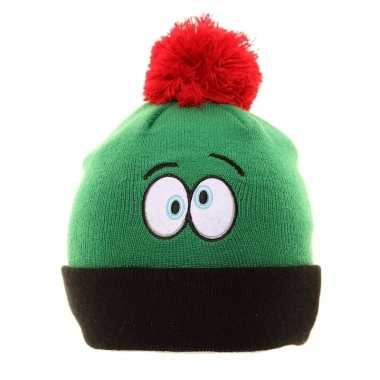 Groene funny wintermuts pompon kopen