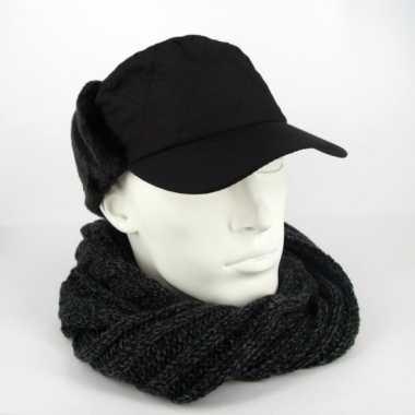 Muts  Winter petten oorkleppen zwart kopen