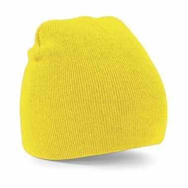 Pull on beanie wintermuts geel kopen