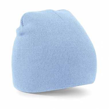 Pull on beanie wintermuts lichtblauw kopen