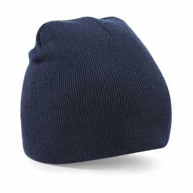 Pull on beanie wintermuts navy blauw kopen