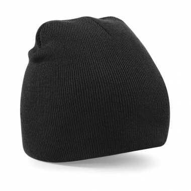 Pull on beanie wintermuts zwart kopen