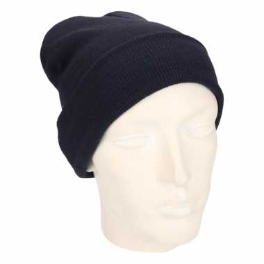 Warme basic winter mutsen donkerblauw heren kopen