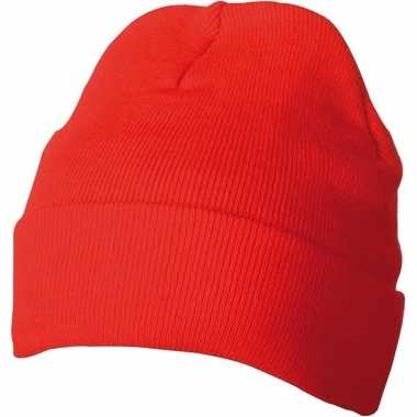 Warme basic winter mutsen rood dames kopen