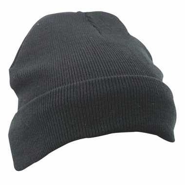 Warme basic winter mutsen zwart dames kopen