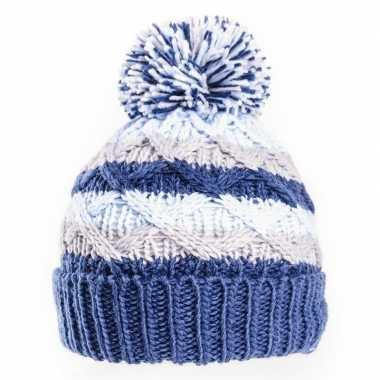 Warme gebreide babymuts pompon blauw/grijs kopen