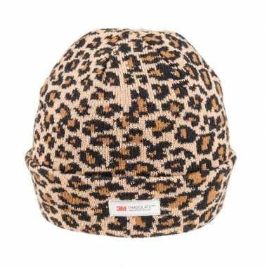 Warme wintermuts bruine luipaard print dames kopen