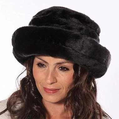 Warme wintermuts dames zwart kopen