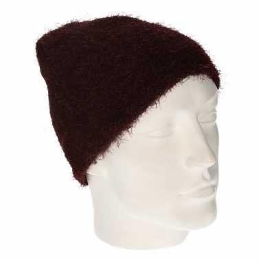 Winter muts wol bordeaux rood dames kopen