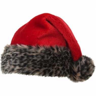 X stuks kerstmutsen luipaard bontrand maat kopen