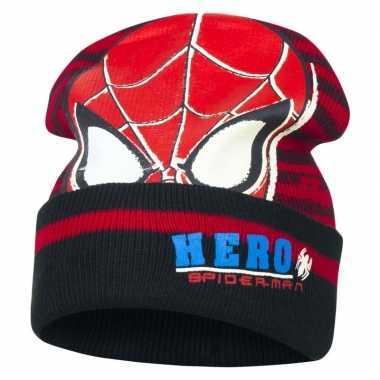 Zwart/rode spiderman skimuts jongens kopen