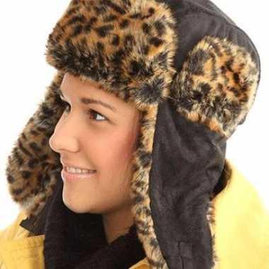 Zwarte bontmuts luipaard print kopen