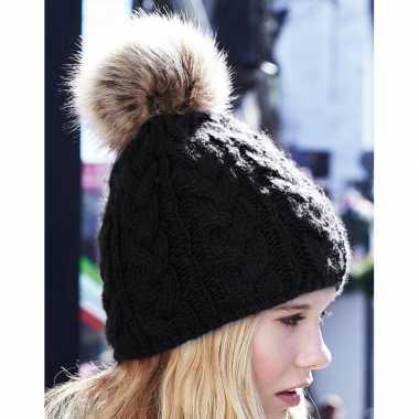 Zwarte warme gebreide skimuts pompon dames kopen
