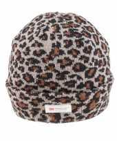Warme wintermuts grijze luipaard print dames kopen