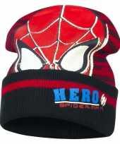 Zwart rode spiderman skimuts jongens kopen